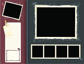 Retro styled scribble scrapbook page with many individual elements that can be used independently.