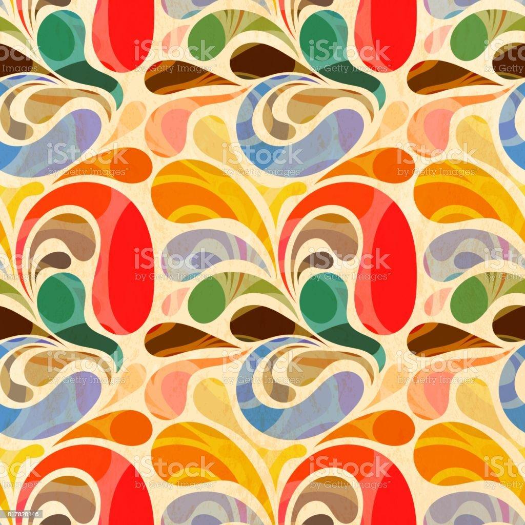 Retrô sem costura abstrata padrão floral - ilustração de arte em vetor