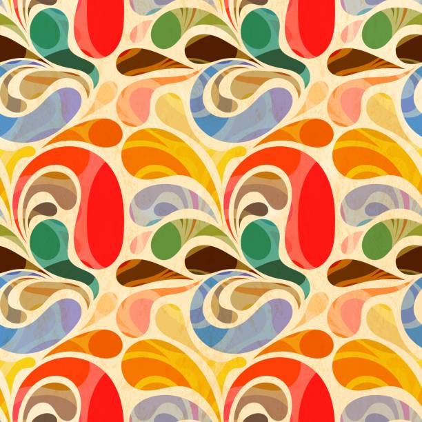 Retro seamless abstract floral pattern vector art illustration