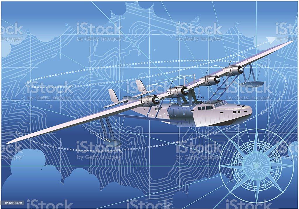 Retro seaplane royalty-free stock vector art