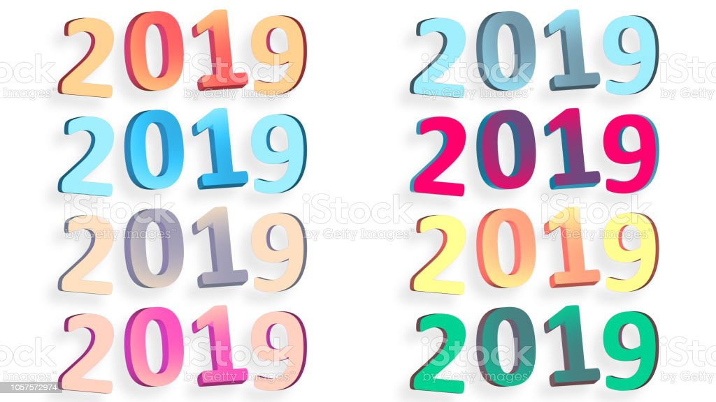 2019 Retro Signs New Year 2019 Numbers Isolated On White Stock ...