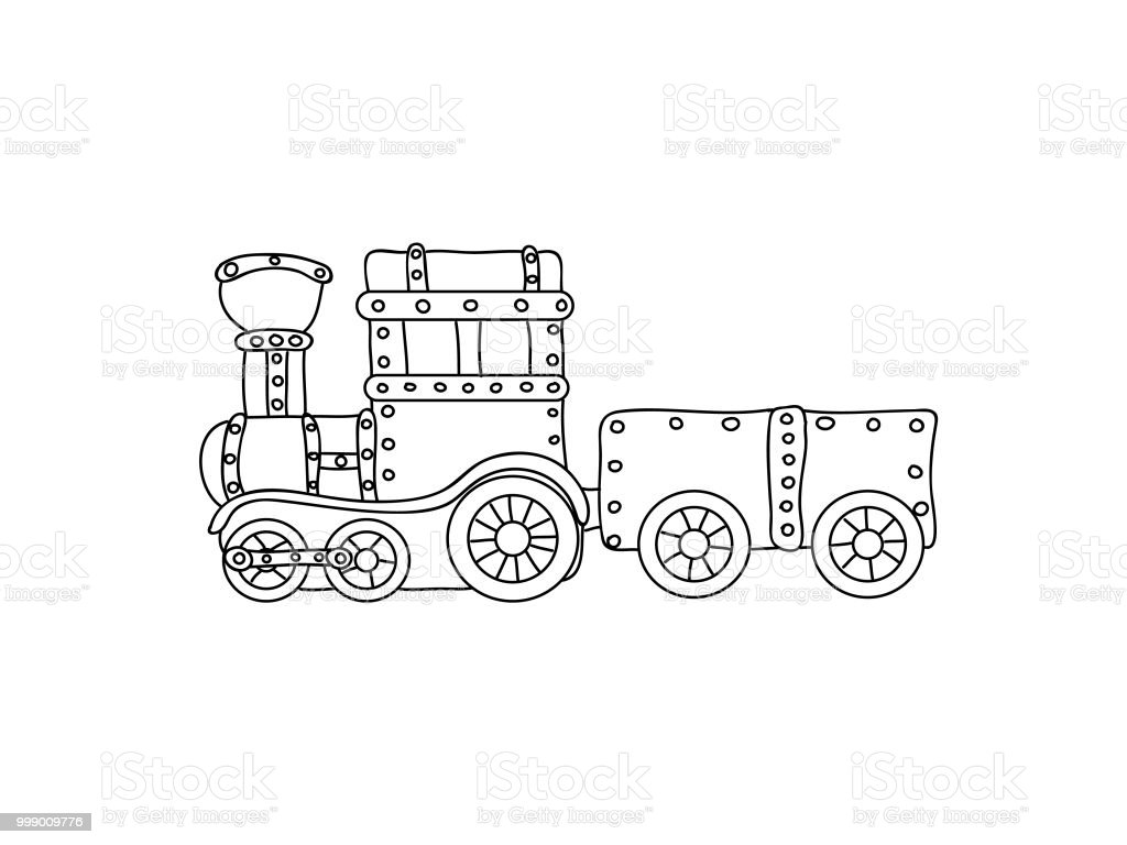Retro Steampunk Train Children Coloring Page Isolated On White Stock ...