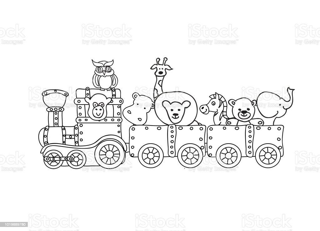 Vetores De Trem De Steampunk Retro Com Criancas Animais Colorir