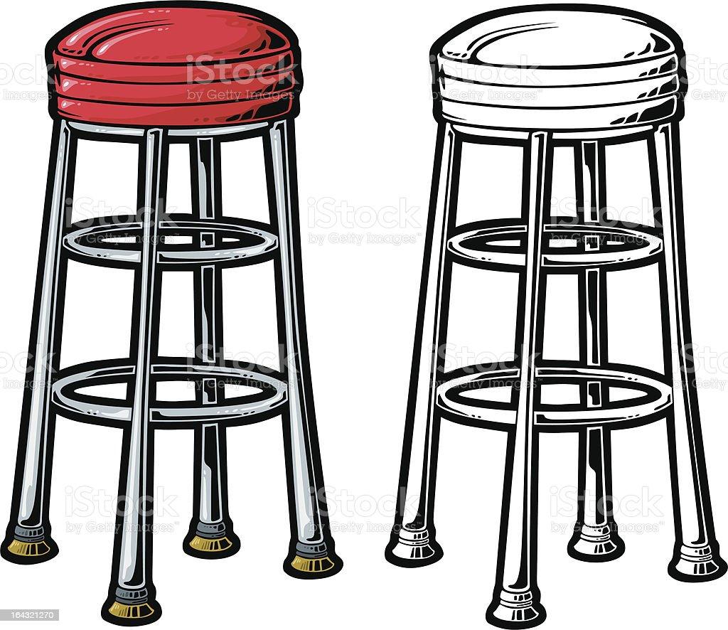 retro stool vector art illustration