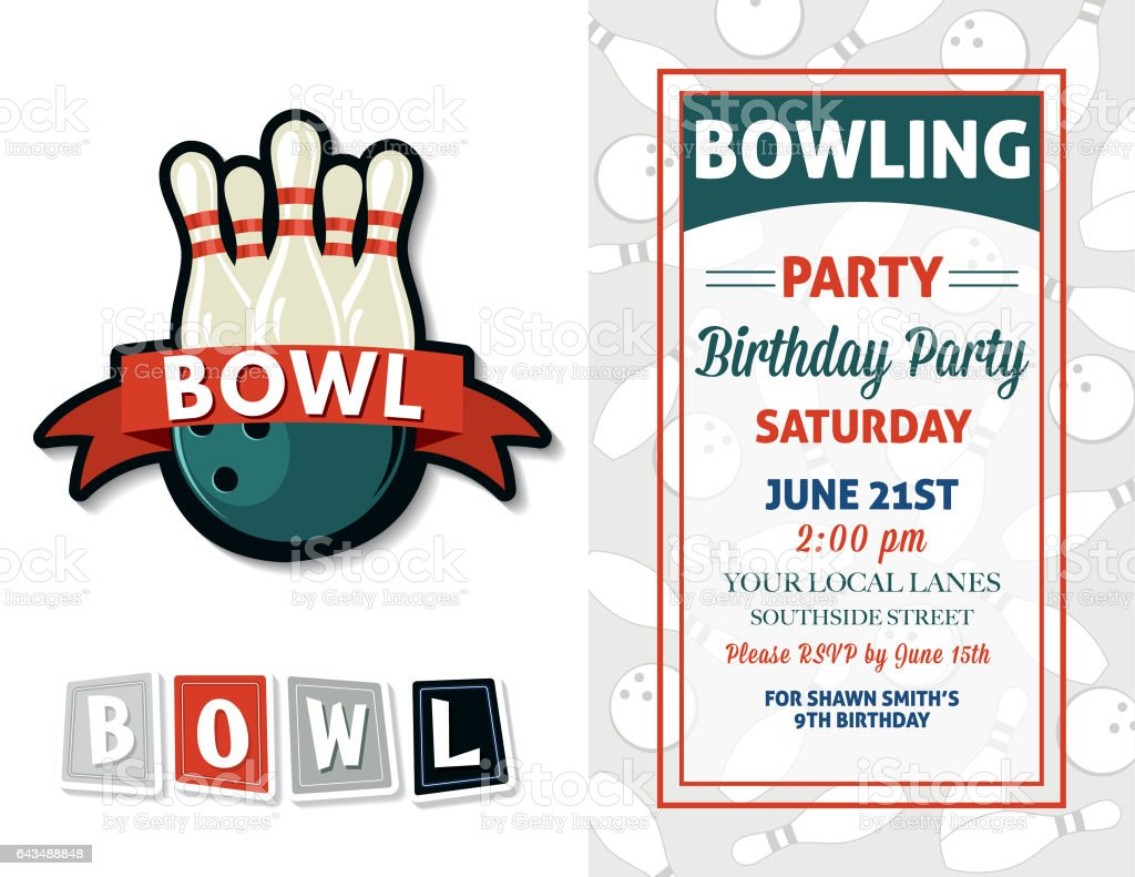 Retro Style Bowling Birthday Party Invitation Template Royalty Free