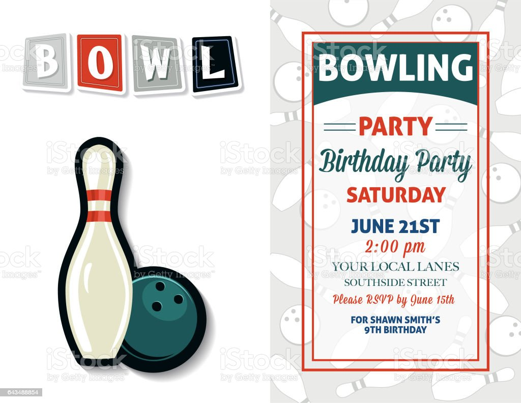 Retro Style Bowling Birthday Party Invitation Template Stock Vector - Bowling birthday party invitation template
