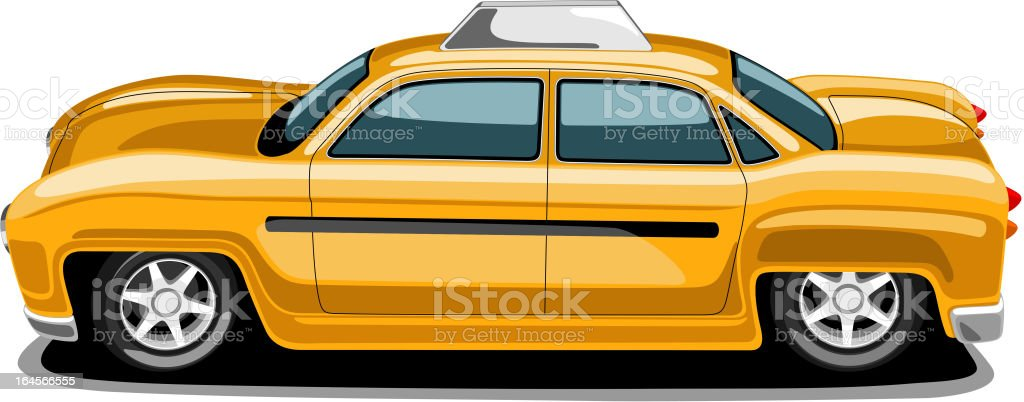 Retro styled city taxi in yellow color. royalty-free stock vector art