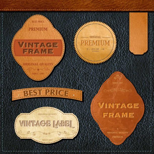ilustraciones, imágenes clip art, dibujos animados e iconos de stock de retro etiquetas - textura de pieles
