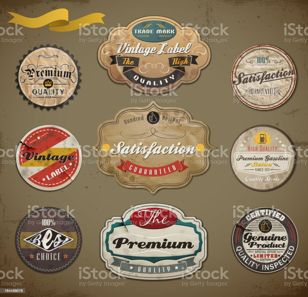 Retro styled old papers Label/Badges collection. royalty-free stock vector art