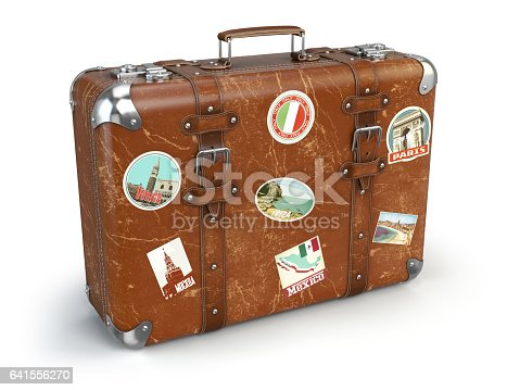 retro suitcase beggage with travel stickers isolated on white background stock vector art more. Black Bedroom Furniture Sets. Home Design Ideas