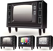 Retro TVs with different screen patterns. Test patterns and static.