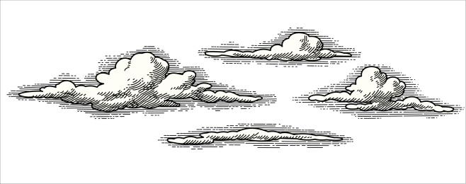 retro vector clouds