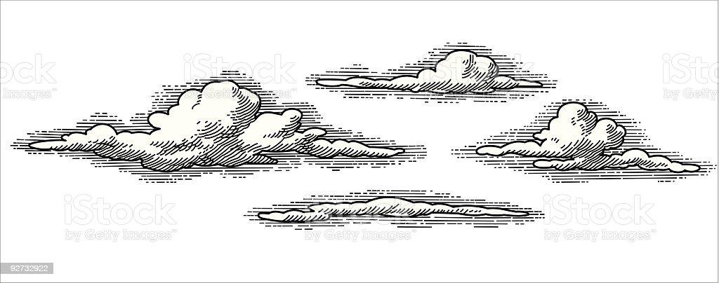 Vecteur nuages rétro - Illustration vectorielle