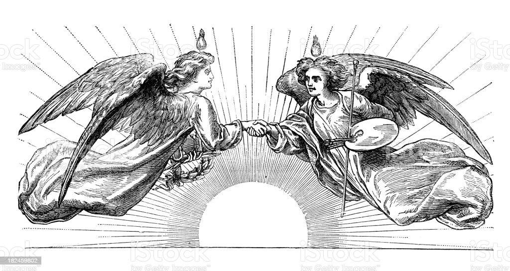 Ángeles retro de estilo victorianas - ilustración de arte vectorial