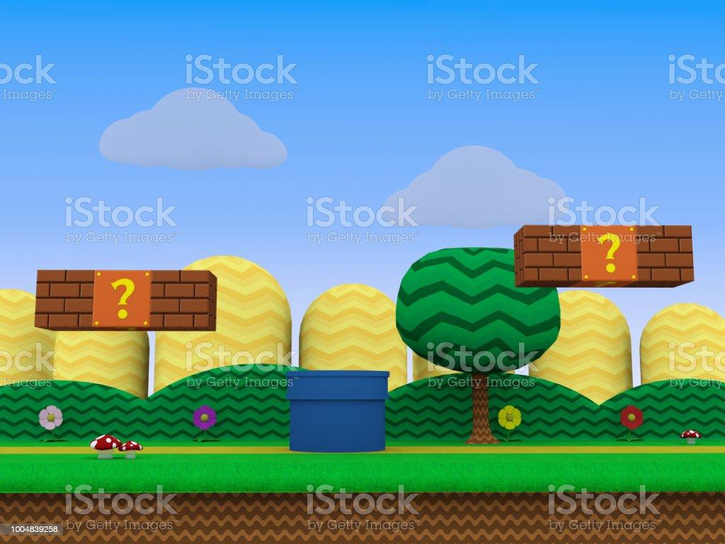 レトロなゲーム背景 3 d イラスト - 3dのベクターアート素材や画像を多数