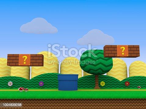 istock Retro video game background 3D illustration 1004839258