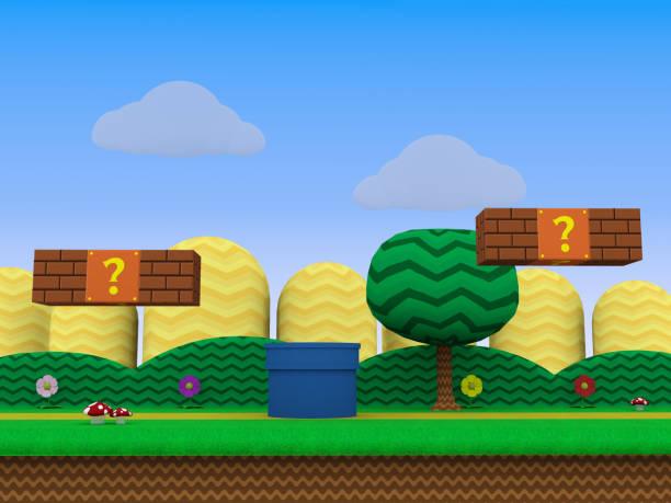 레트로 게임 배경 3d 그림 - 가공의 인물 stock illustrations