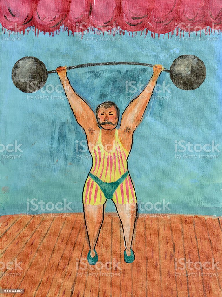 Retro Weightlifting Painting vector art illustration