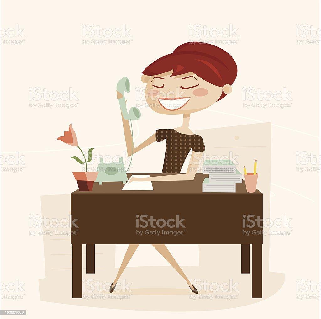 Retro woman working vector art illustration