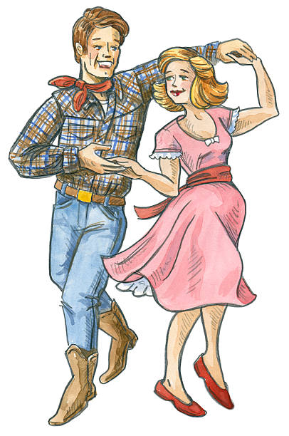 retro-style illustration of man and woman square dancing - plaid shirt stock illustrations