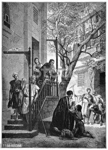 Return of the Prodigal Son by Alexandre Bida (circa 19th century). Vintage etching circa late 19th century.