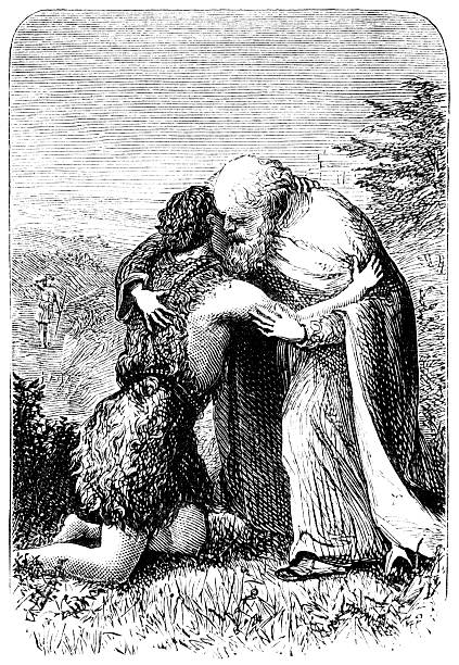 return of the prodigal son - victorian engraving - son stock illustrations, clip art, cartoons, & icons