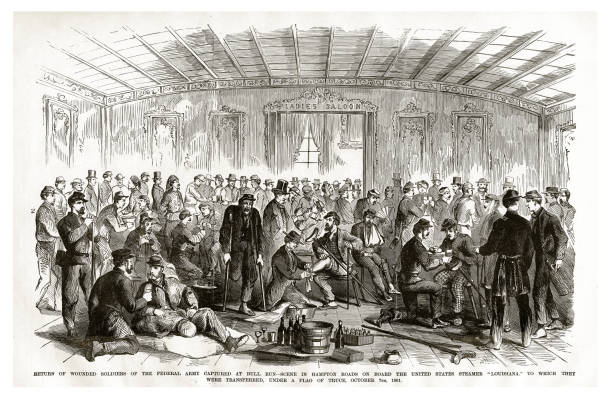 Return of Wounded Soldiers of the Federal Army Captured at Bull Run to Which They were Transferred Under a Flag of Truce, October, 7 1861 Civil War Engraving vector art illustration