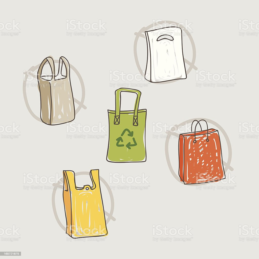 Reusable bags vector art illustration
