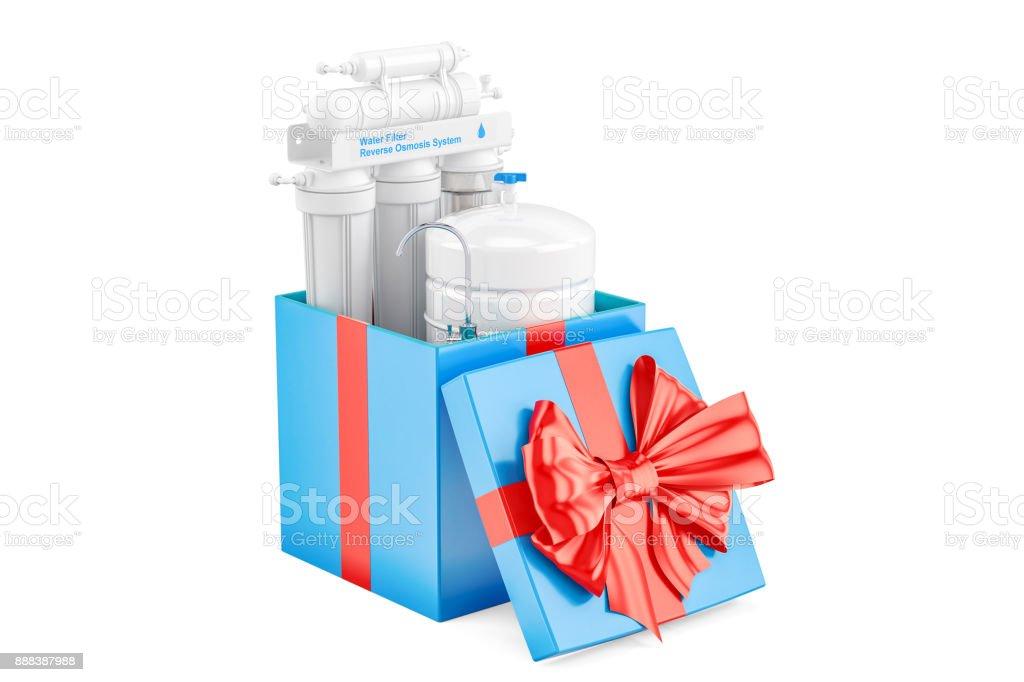 Reverse osmosis system inside gift box, gift concept. 3D rendering vector art illustration