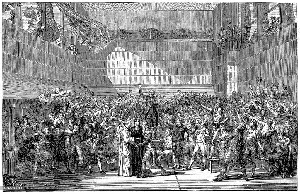 Revolution. 20 juin 1789. La réunion des délégués de l'Assemblée nationale lors de la signature du serment de Cour de Tennis, à Versailles. - Illustration vectorielle