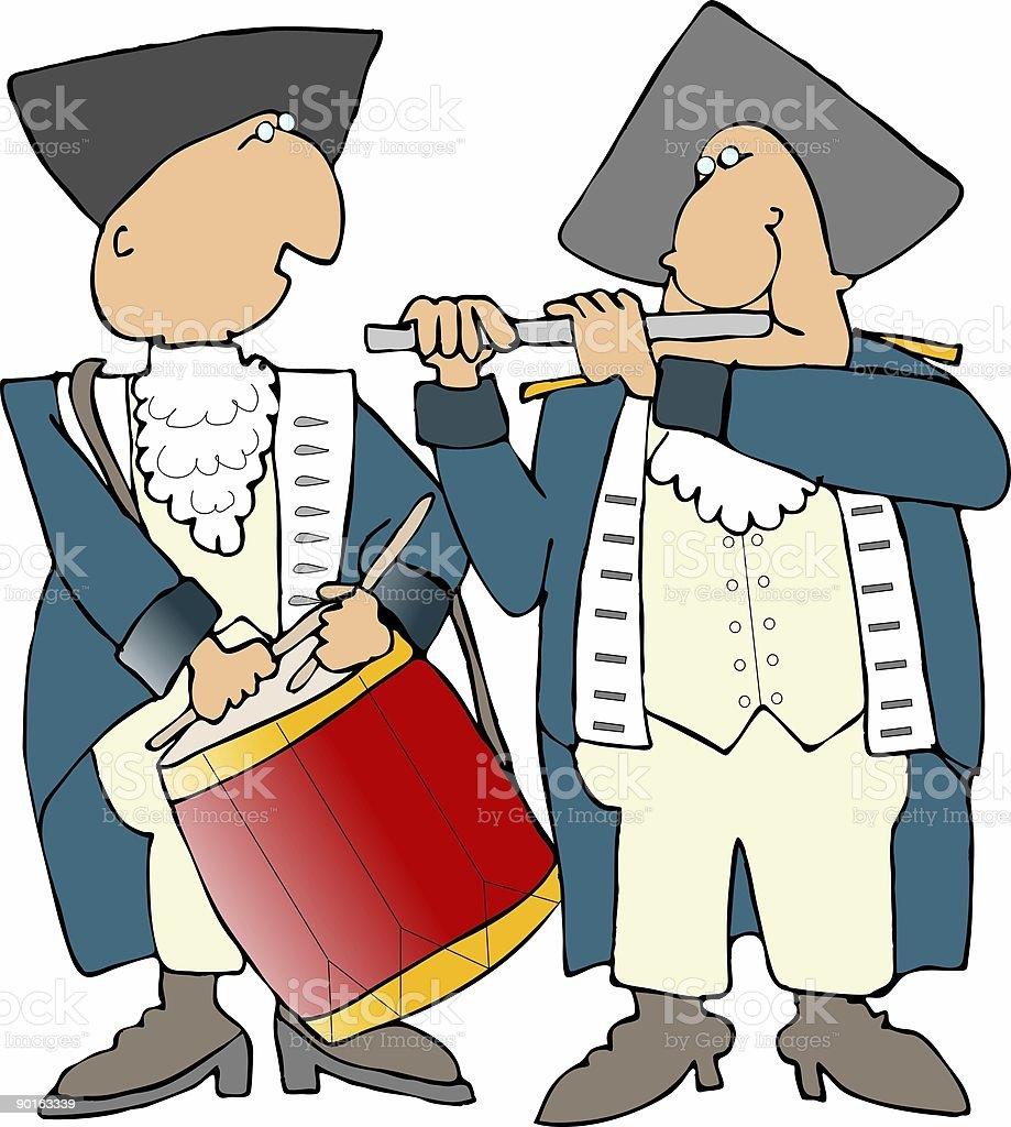US Revolutionary War drummer & flutist royalty-free us revolutionary war drummer flutist stock vector art & more images of adult