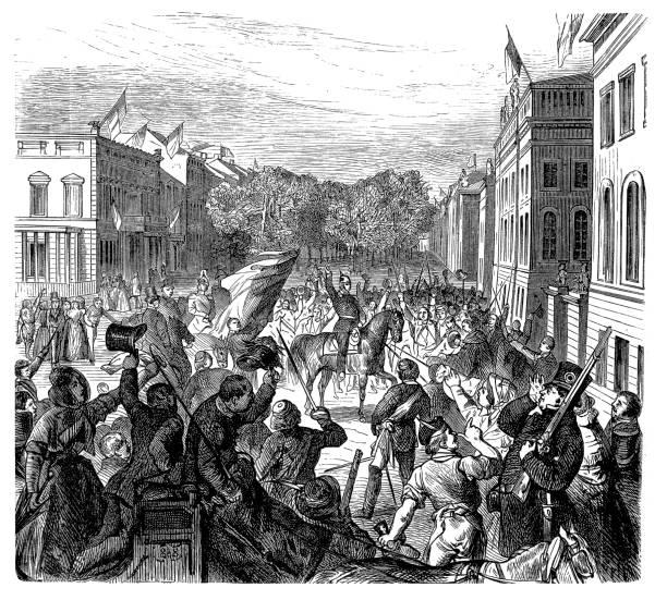 bildbanksillustrationer, clip art samt tecknat material och ikoner med revolutionerna 1848-1849, tyskland, kung framför universitetet den 21 mars 1848 - berlin street