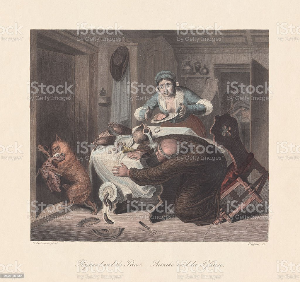 Reynard the Fox and the Priest, published c. 1855 vector art illustration