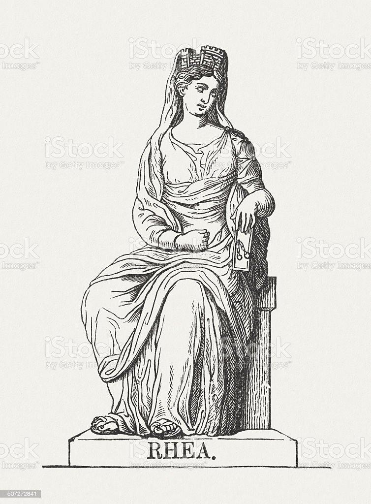 Rhea Greek Goddess Wood Engraving Published In 1878 Stock