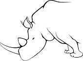 Simple line drawing of rhinoceros. one object vector illustration.