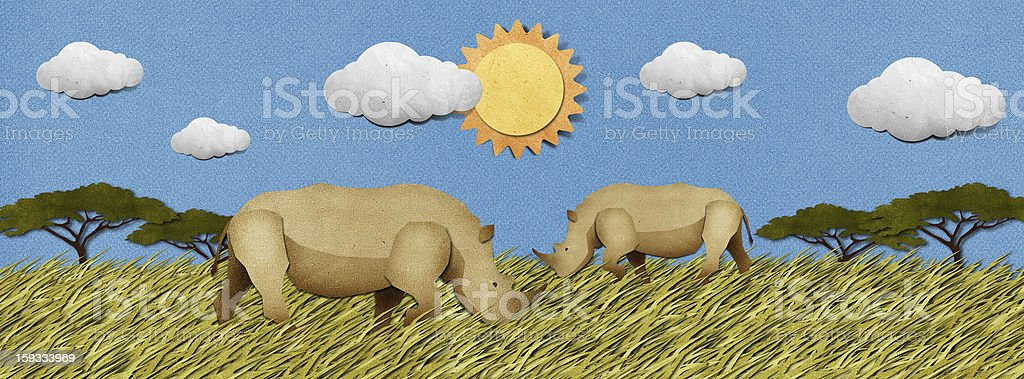 Rhino Recycled Paper Craft Background Stock Vector Art