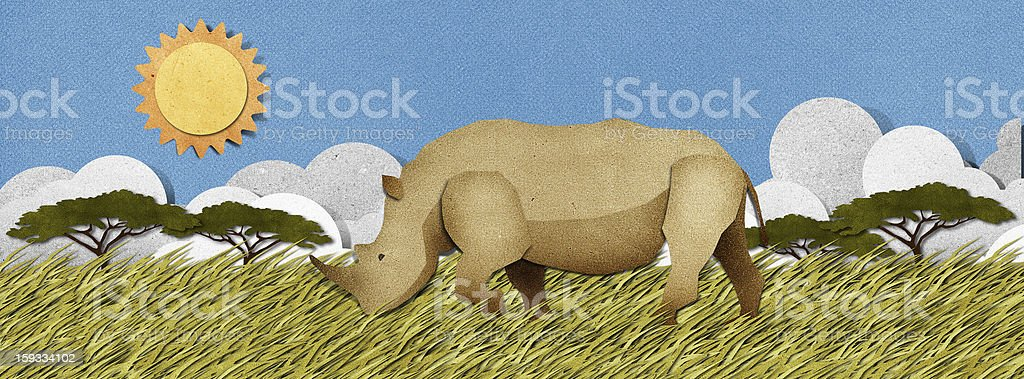 Rhino Recycled Paper Craft Background Stock Illustration - Download