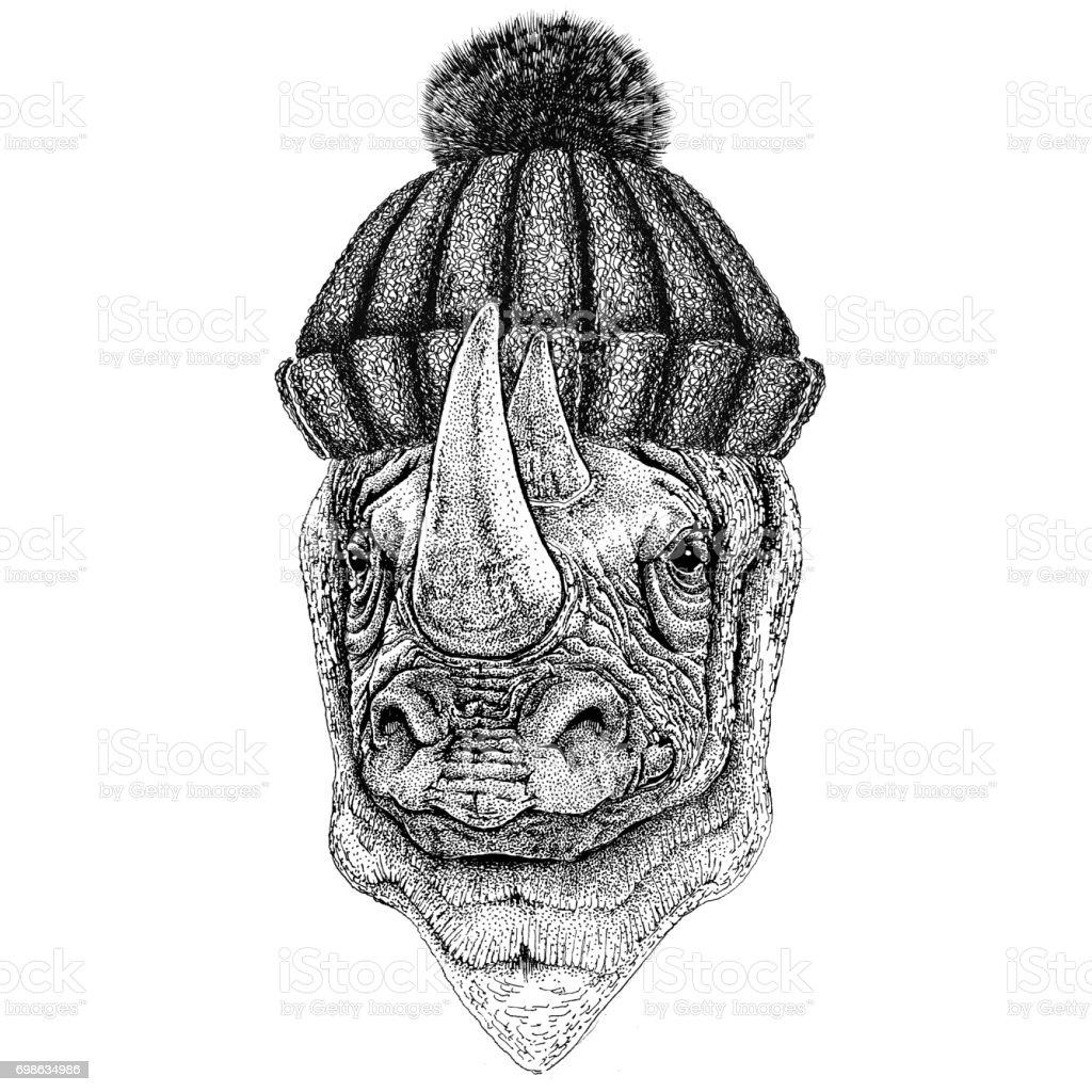 Ilustración de Rinoceronte Rhino Usa Invierno Sombrero Hecho Punto y ...