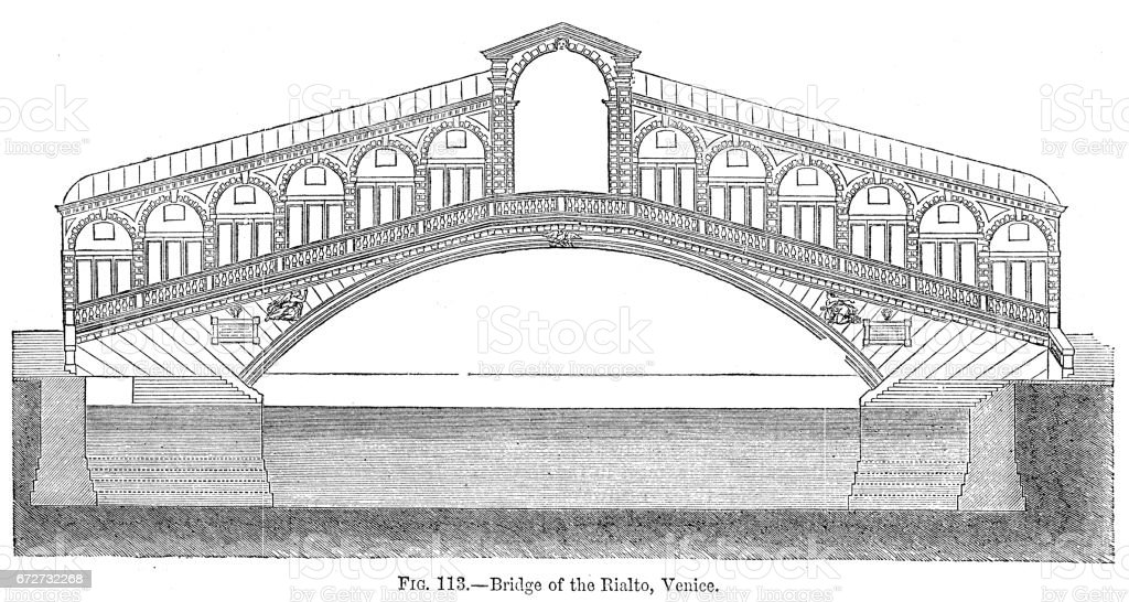 Rialto bridge in Venice engraving 1878 vector art illustration