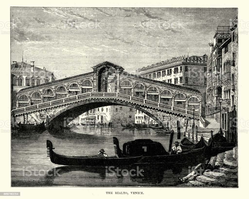 Rialto Bridge, Venice, 19th Century vector art illustration