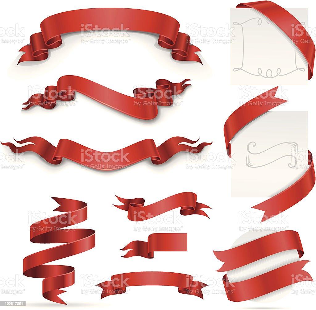 Ribbon Set (Red) vector art illustration