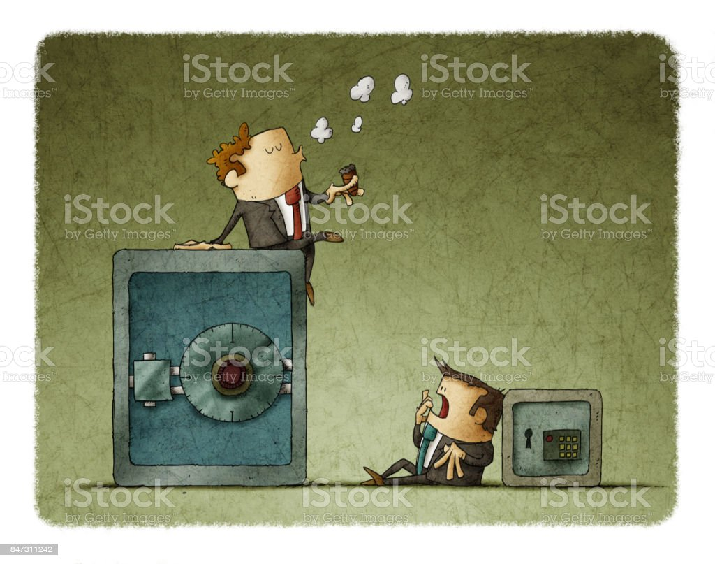 Rich businessman sitting in a big safe, and poor businessman with a small safe vector art illustration
