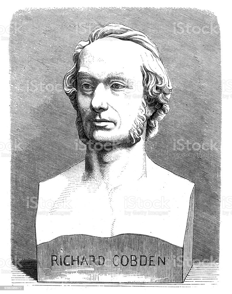 Richard Cobden (3 June 1804 – 2 April 1865) was an English manufacturer and Radical and Liberal statesman vector art illustration