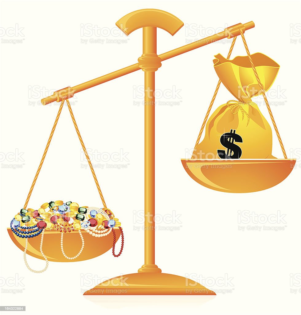 Riches on scales royalty-free stock vector art