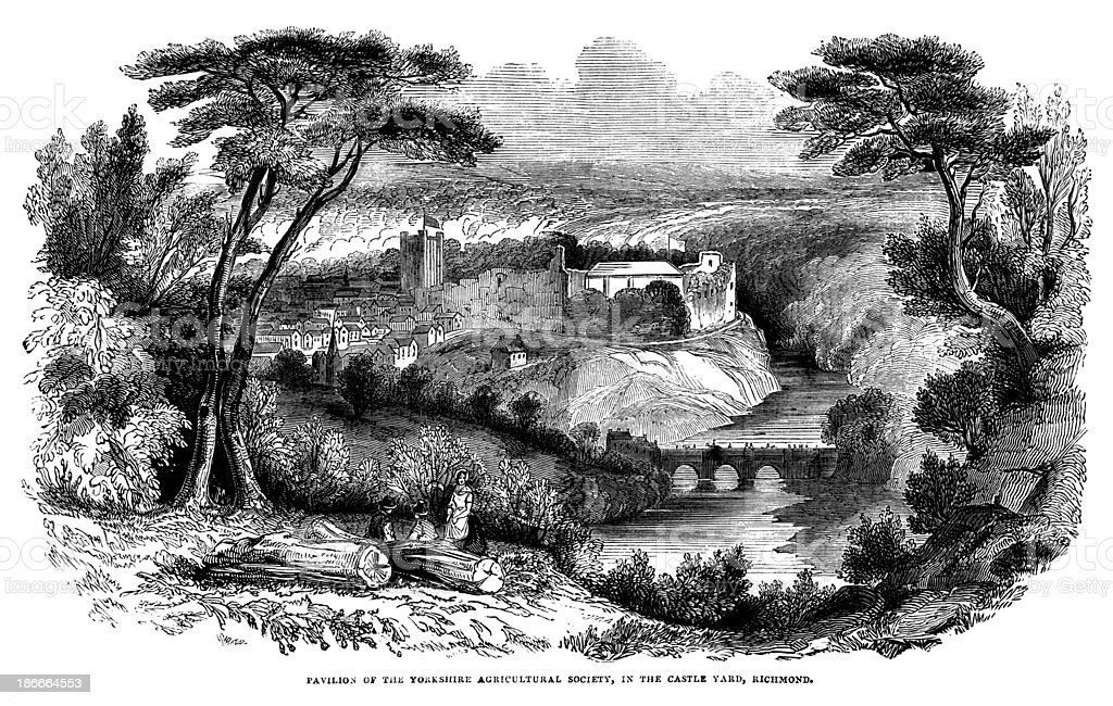 Richmond Castle with the Yorkshire Agricultural Society Pavilion vector art illustration