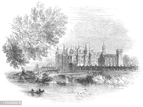 Richmond Palace in London, England from the Works of William Shakespeare. Vintage etching circa mid 19th century. The palace was demolished in the 17th century.