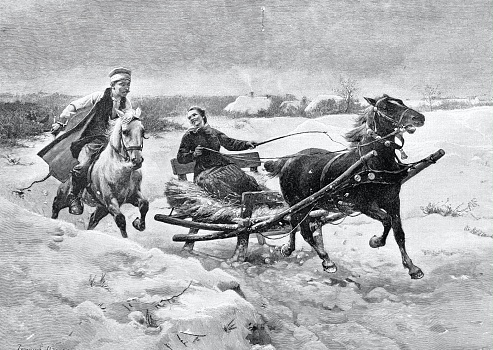 Rider and woman in a carriage funny race against each other
