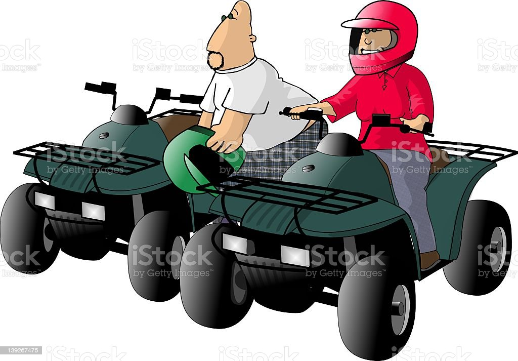 ATV Riders royalty-free stock vector art