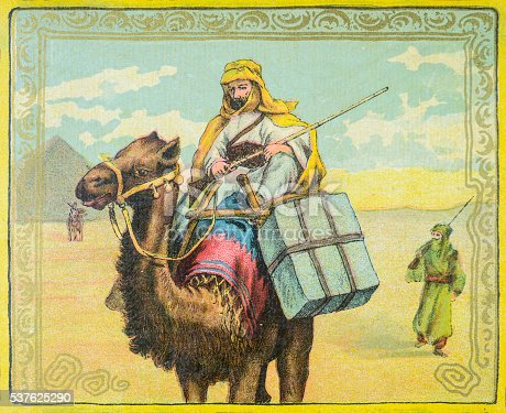 Riding a camel in Egypt - 1886 illustration