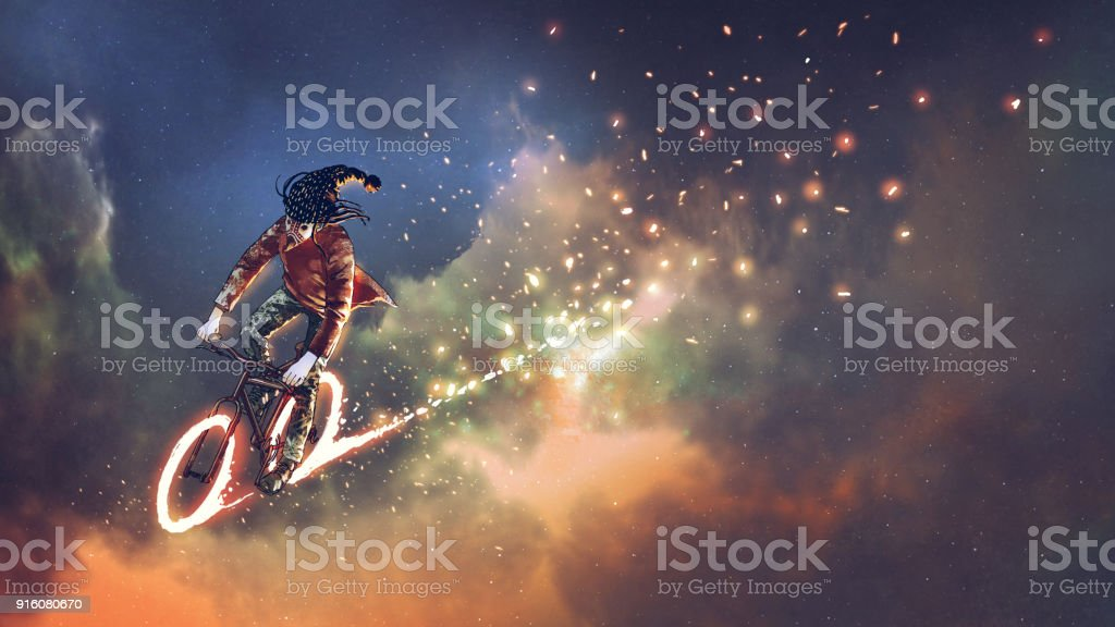 riding bicycle in outer space vector art illustration